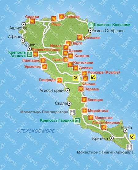 Карта Корфу, остров в Греции