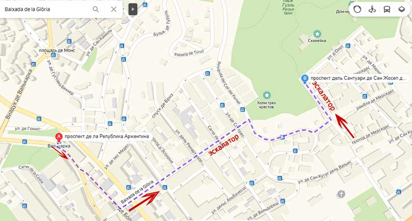 Как добраться в парк Гуэль от метро Валькарка в Барселоне, карта на русском языке