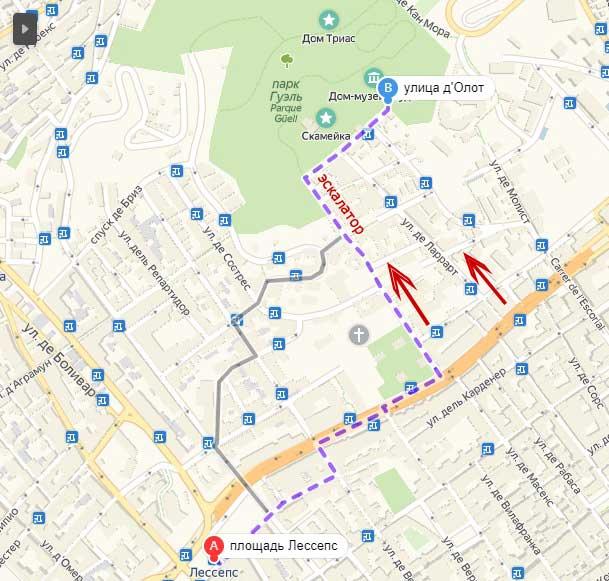 Парк Гуэль - как добраться на метро в Барселоне, карта на русском языке