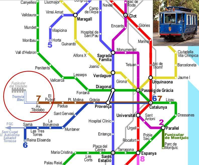 Как добраться на Тибидабо в Барселоне, метро, голубой трамвай
