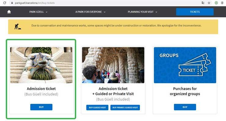 Инструкция - как купить билет в Парк Гуэль на официальном сайте онлайн