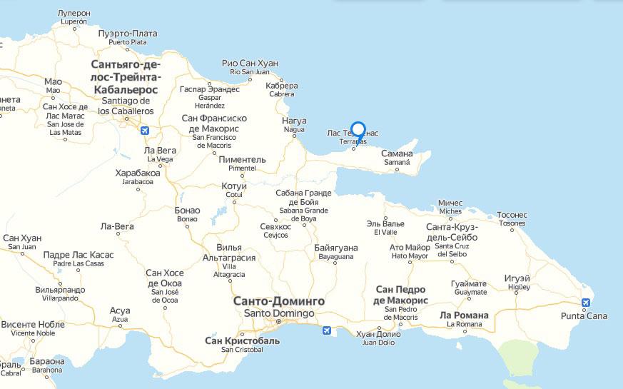 Доминикана на карте - столица, лучшие курорты, пляжи, где лучше отдыхать, карта