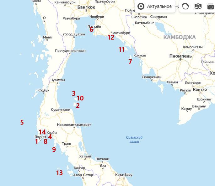 Острова Тайланда на карте мира, карта Тайланда с островами